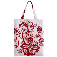 Red Vintage Floral Flowers Decorative Pattern Clipart Zipper Classic Tote Bag by Simbadda