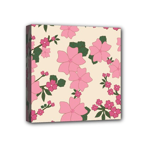 Vintage Floral Wallpaper Background In Shades Of Pink Mini Canvas 4  X 4  by Simbadda