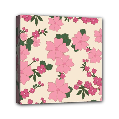 Vintage Floral Wallpaper Background In Shades Of Pink Mini Canvas 6  X 6  by Simbadda