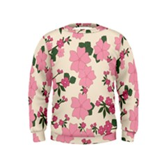 Vintage Floral Wallpaper Background In Shades Of Pink Kids  Sweatshirt