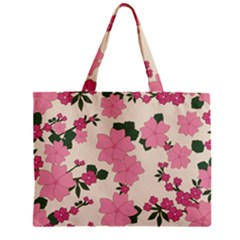 Vintage Floral Wallpaper Background In Shades Of Pink Zipper Mini Tote Bag by Simbadda