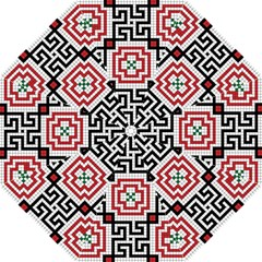 Vintage Style Seamless Black White And Red Tile Pattern Wallpaper Background Folding Umbrellas by Simbadda