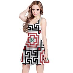 Vintage Style Seamless Black White And Red Tile Pattern Wallpaper Background Reversible Sleeveless Dress by Simbadda