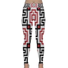 Vintage Style Seamless Black White And Red Tile Pattern Wallpaper Background Classic Yoga Leggings