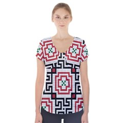 Vintage Style Seamless Black White And Red Tile Pattern Wallpaper Background Short Sleeve Front Detail Top