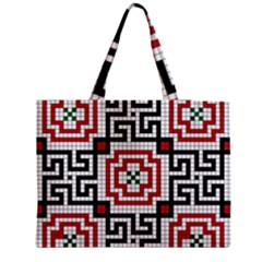Vintage Style Seamless Black White And Red Tile Pattern Wallpaper Background Medium Zipper Tote Bag