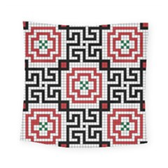 Vintage Style Seamless Black White And Red Tile Pattern Wallpaper Background Square Tapestry (small) by Simbadda