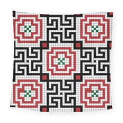 Vintage Style Seamless Black White And Red Tile Pattern Wallpaper Background Square Tapestry (large) by Simbadda