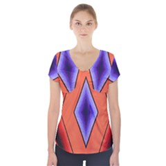 Diamond Shape Lines & Pattern Short Sleeve Front Detail Top by Simbadda