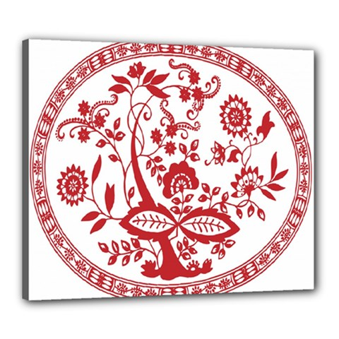 Red Vintage Floral Flowers Decorative Pattern Canvas 24  X 20  by Simbadda