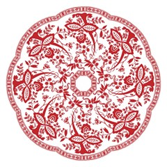 Red Vintage Floral Flowers Decorative Pattern Golf Umbrellas by Simbadda