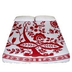 Red Vintage Floral Flowers Decorative Pattern Fitted Sheet (queen Size) by Simbadda