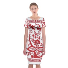 Red Vintage Floral Flowers Decorative Pattern Classic Short Sleeve Midi Dress by Simbadda