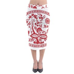 Red Vintage Floral Flowers Decorative Pattern Midi Pencil Skirt by Simbadda