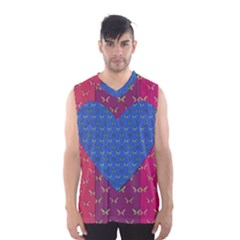 Butterfly Heart Pattern Men s Basketball Tank Top by Simbadda