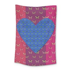 Butterfly Heart Pattern Small Tapestry by Simbadda