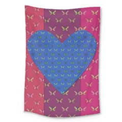 Butterfly Heart Pattern Large Tapestry by Simbadda