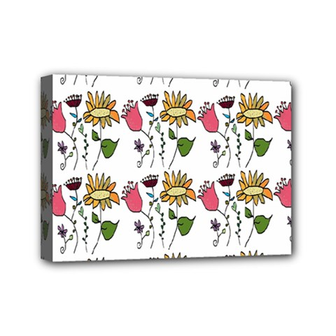 Handmade Pattern With Crazy Flowers Mini Canvas 7  X 5  by Simbadda