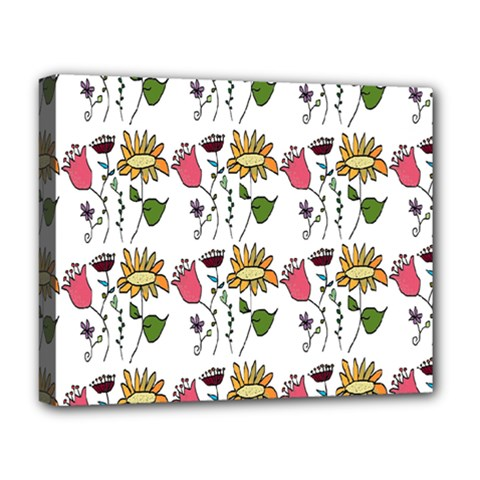 Handmade Pattern With Crazy Flowers Deluxe Canvas 20  X 16   by Simbadda