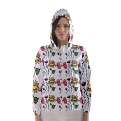 Handmade Pattern With Crazy Flowers Hooded Wind Breaker (women) by Simbadda