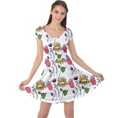 Handmade Pattern With Crazy Flowers Cap Sleeve Dresses by Simbadda