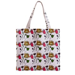 Handmade Pattern With Crazy Flowers Zipper Grocery Tote Bag by Simbadda