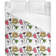 Handmade Pattern With Crazy Flowers Duvet Cover (california King Size) by Simbadda