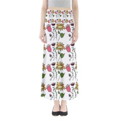 Handmade Pattern With Crazy Flowers Maxi Skirts