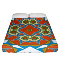 Digital Computer Graphic Geometric Kaleidoscope Fitted Sheet (king Size) by Simbadda