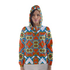 Digital Computer Graphic Geometric Kaleidoscope Hooded Wind Breaker (women) by Simbadda