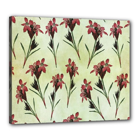 Vintage Style Seamless Floral Wallpaper Pattern Background Canvas 24  X 20