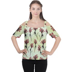 Vintage Style Seamless Floral Wallpaper Pattern Background Women s Cutout Shoulder Tee by Simbadda