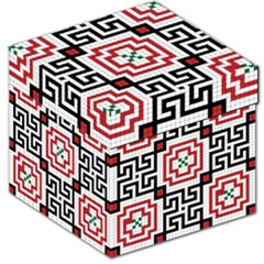 Vintage Style Seamless Black, White And Red Tile Pattern Wallpaper Background Storage Stool 12