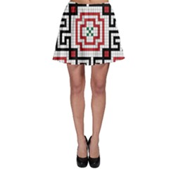 Vintage Style Seamless Black, White And Red Tile Pattern Wallpaper Background Skater Skirt by Simbadda