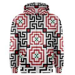 Vintage Style Seamless Black, White And Red Tile Pattern Wallpaper Background Men s Zipper Hoodie by Simbadda