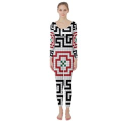 Vintage Style Seamless Black, White And Red Tile Pattern Wallpaper Background Long Sleeve Catsuit by Simbadda