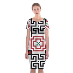 Vintage Style Seamless Black, White And Red Tile Pattern Wallpaper Background Classic Short Sleeve Midi Dress