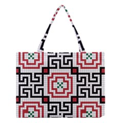 Vintage Style Seamless Black, White And Red Tile Pattern Wallpaper Background Medium Tote Bag