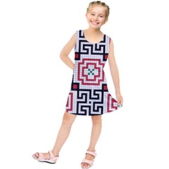 Vintage Style Seamless Black, White And Red Tile Pattern Wallpaper Background Kids  Tunic Dress by Simbadda