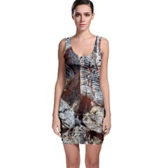 Wooden Hot Ashes Pattern Sleeveless Bodycon Dress