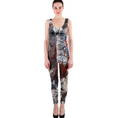 Wooden Hot Ashes Pattern Onepiece Catsuit by Simbadda