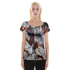 Wooden Hot Ashes Pattern Women s Cap Sleeve Top by Simbadda