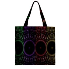 Digital Colored Ornament Computer Graphic Zipper Grocery Tote Bag by Simbadda