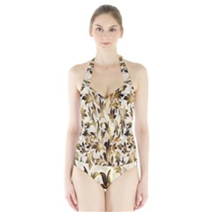 Floral Vintage Pattern Background Halter Swimsuit by Simbadda