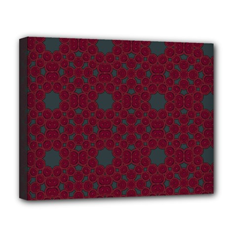 Blue Hot Pink Pattern With Woody Circles Deluxe Canvas 20  X 16   by Simbadda