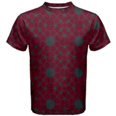 Blue Hot Pink Pattern With Woody Circles Men s Cotton Tee by Simbadda