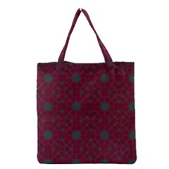 Blue Hot Pink Pattern With Woody Circles Grocery Tote Bag