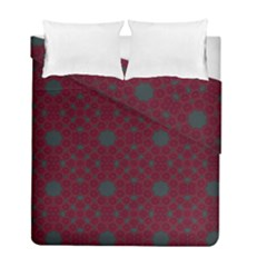 Blue Hot Pink Pattern With Woody Circles Duvet Cover Double Side (full/ Double Size) by Simbadda