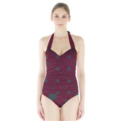 Blue Hot Pink Pattern With Woody Circles Halter Swimsuit by Simbadda