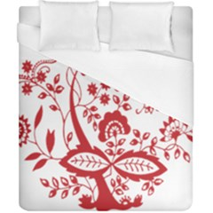 Red Vintage Floral Flowers Decorative Pattern Clipart Duvet Cover (california King Size) by Simbadda